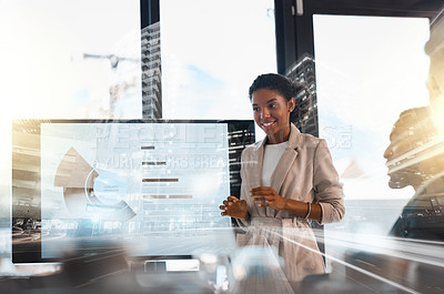 Buy stock photo Shot of a young businesswoman giving a presentation to her colleagues in an office superimposed over a cityscape