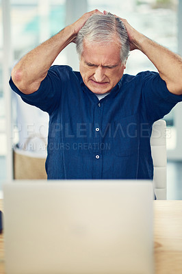 Buy stock photo Cropped shot of a senior man working from home
