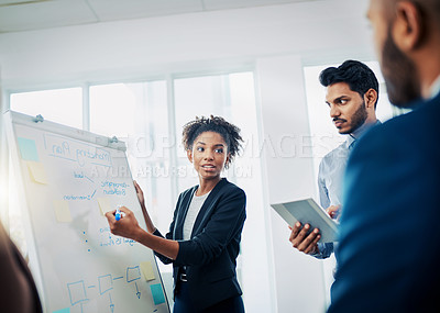 Buy stock photo Cropped shot of businesspeole having a brainstorming session at work