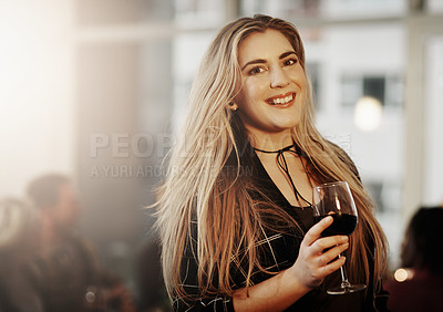 Buy stock photo Portrait of a beautiful young woman enjoying herself at a get together
