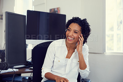 Buy stock photo Cropped shot of a cheerful young businesswoman at the office