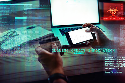 Buy stock photo Cropped shot of an unrecognizable male hacker stealing credit card information in the office