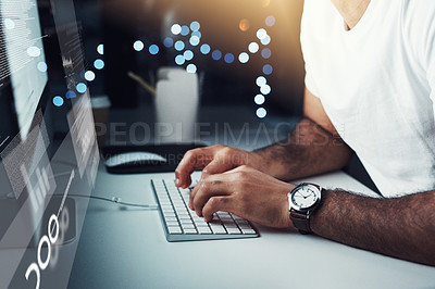 Buy stock photo Closeup shot of an unrecognizable programmer working on a computer code at night