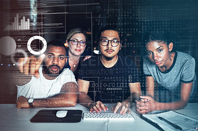 Buy stock photo Shot of a group of businesspeople connecting to a user interface while working in an office at night