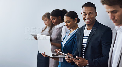 Buy stock photo Cropped shot of a group of young businesspeople waiting in line for their interviews
