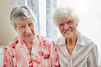Buy stock photo Portrait of two happy elderly women spending time with each other at home