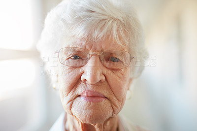 Buy stock photo Portrait of a elderly woman at a retirement home