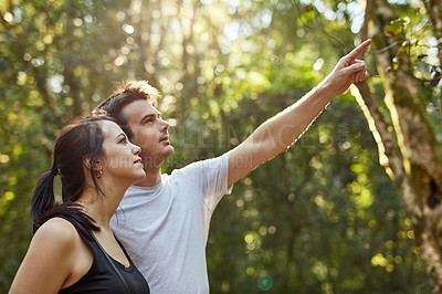 Buy stock photo Cropped shot of a young couple out on a hike