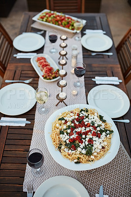 Buy stock photo Still life shot of food on a table outdoors