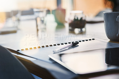Buy stock photo Still life shot of paperwork on a table in an office
