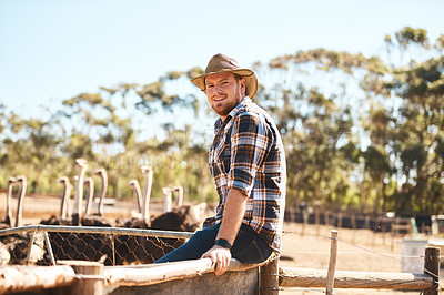 Buy stock photo Portrait of a man working in an ostrich farm