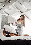 Make your mornings fun with some pillow fighting