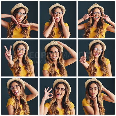 Buy stock photo Composite studio image of an attractive young woman making various facial expressions against a gray background