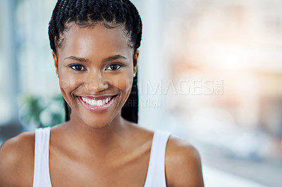 Buy stock photo Portrait shot of a beautiful young woman posing indoors