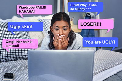 Buy stock photo Shot of an attractive young woman being cyber bullied online while chilling on her bed in her bedroom at home