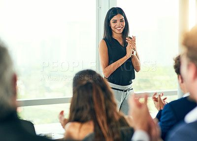 Buy stock photo Shot of businesspeople at a seminar
