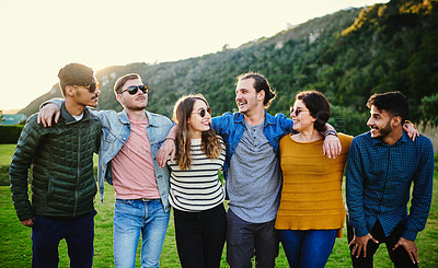 Buy stock photo Portrait of a group of friends outdoors