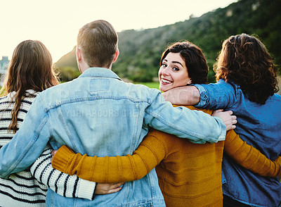 Buy stock photo Cropped shot of friends outdoors