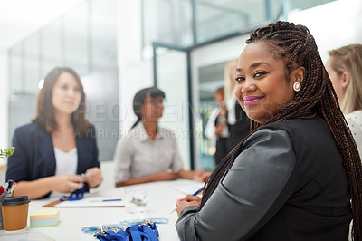 Buy stock photo Portrait of a cheerful group of businesswomen signing forms to attend a seminar inside of a building during the day