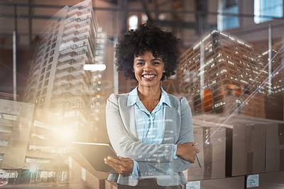 Buy stock photo Multiple exposure portrait of an attractive young female factory manager taking stock in one of her warehouses