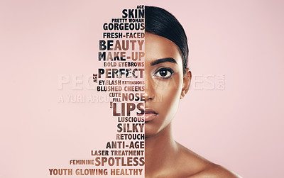 Buy stock photo Studio portrait of a beautiful young woman half covered in text posing against a pink background