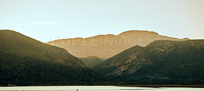 Buy stock photo Shot of a wide open mountain range