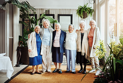 Buy stock photo Portrait of a group of happy senior women standing together at a retirement home