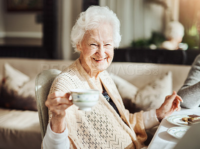 Buy stock photo Portrait of happy senior women having tea together at a retirement home