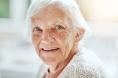 Buy stock photo Portrait of happy senior woman living in a retirement home