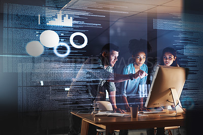 Buy stock photo Shot of a group of programmers working together on a computer code at night
