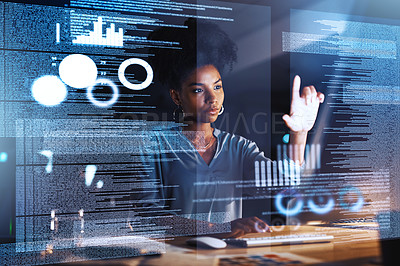 Buy stock photo Shot of a programmer connecting to a user interface while working in an office at night