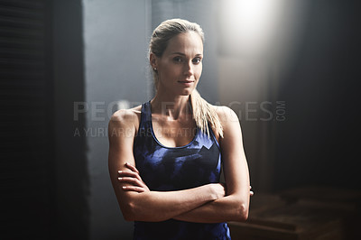 Buy stock photo Portrait of an athletic young woman in the gym
