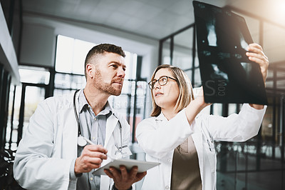 Buy stock photo Shot of two doctors analyzing x-ray scans in a hospital
