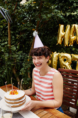 Buy stock photo Cropped shot of a birthday celebration outdoors
