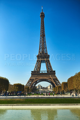 Buy stock photo Full length shot of the Eiffel Tower in Paris, France