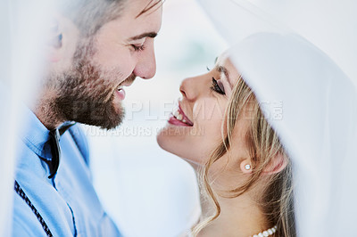 Buy stock photo Shot of a happy young couple on their wedding day