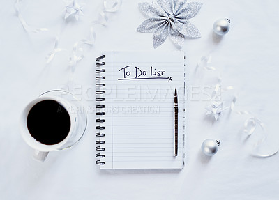 "Buy stock photo Shot of a notebook with the words, ""to do list"" on an office desk at Christmas time"