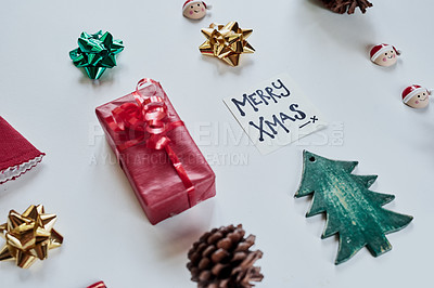 Buy stock photo Shot of various Christmas objects on a table