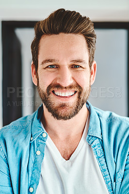 Buy stock photo Shot of a young man at home