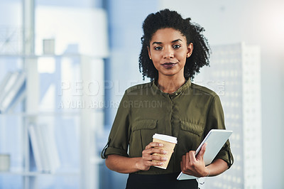 Buy stock photo Portrait of a young woman holding a cup of coffee and a digital tablet in her office