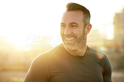 Buy stock photo Cropped shot of a mature man exercising outdoors