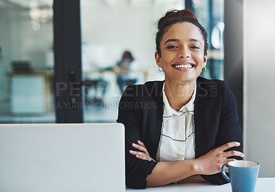 Buy stock photo Cropped shot of a young businesswoman in her office