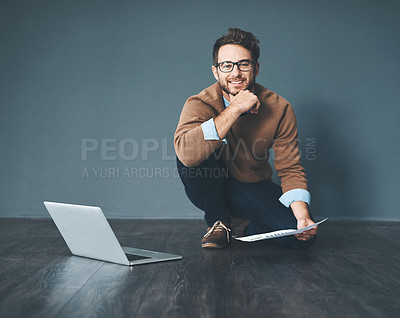 Buy stock photo Shot of a young businessman