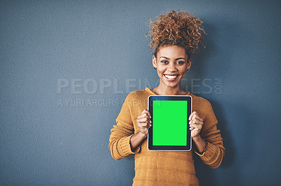 Buy stock photo Cropped shot of businesspeople working on wireless technology displaying chromakey screens