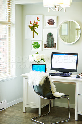 Buy stock photo Shot of a laptop on a desk in a home study