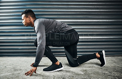 Buy stock photo Shot of a young person working out
