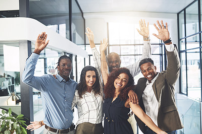 Buy stock photo Portrait of a group of businesspeople cheering in an office