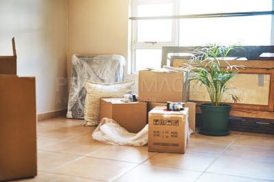 Buy stock photo Cropped shot of boxes in a home on moving day