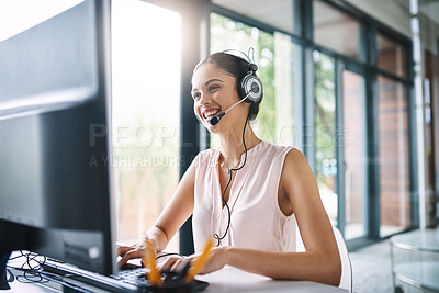 Buy stock photo Cropped shot of young people working in a call center