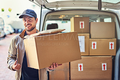 Buy stock photo Portrait of a courier unloading packages from his delivery van